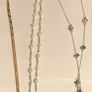 Three long necklaces silver gold pearls 24-26 inch